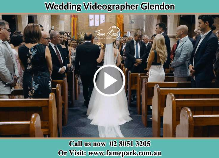 The Bride walking down the aisle with her father Glendon NSW 2330