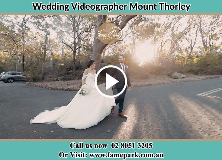 Bride and Groom walking in the park Mount Thorley NSW 2330