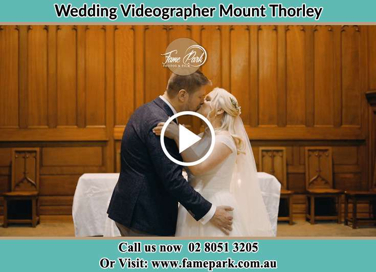 Bride and Groom kissed at the altar Mount Thorley NSW 2330