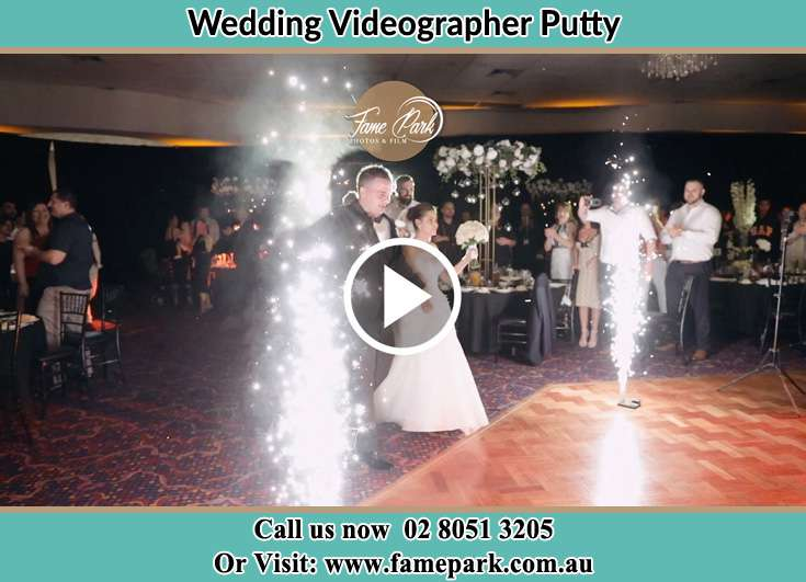 Bride and Groom walking in the dance floor Putty NSW 2330