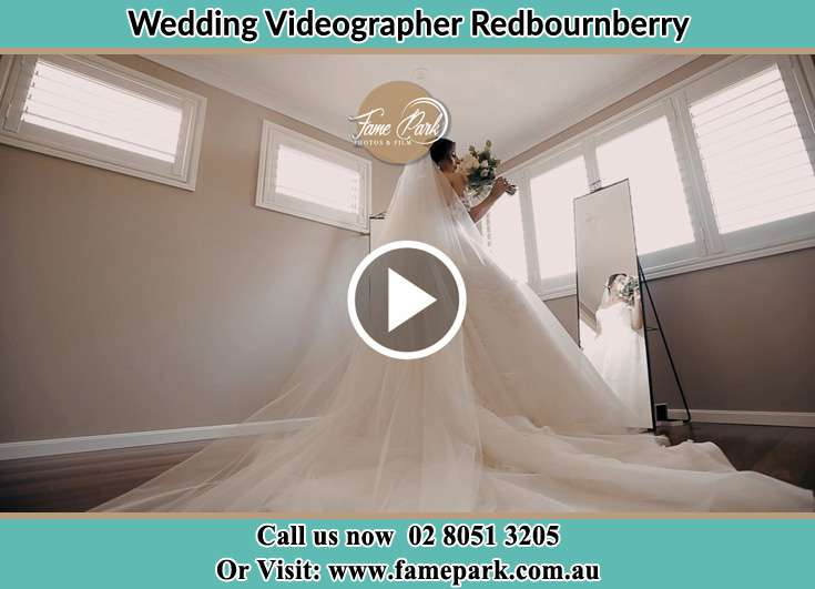 Bride already prepared in front of the mirror Redbournberry NSW 2330